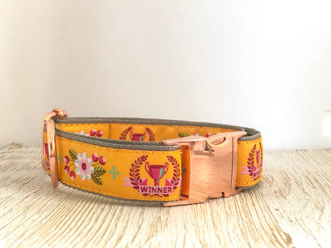 Tula Pink Dog Collar - Winner-GOLD