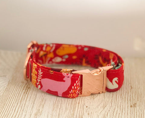 Tula Pink Dog Collar - Red Campsite