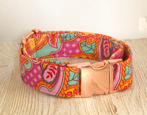 Tula Pink Dog Collar - Pink/Orange Owl