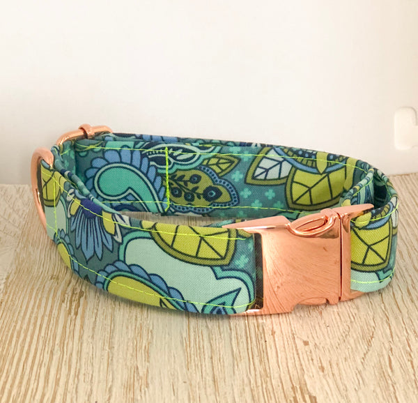 Tula Pink Dog Collar - Blue Owl