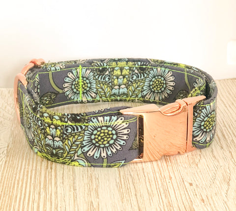 Tula Pink Dog Collar - Blue Deer