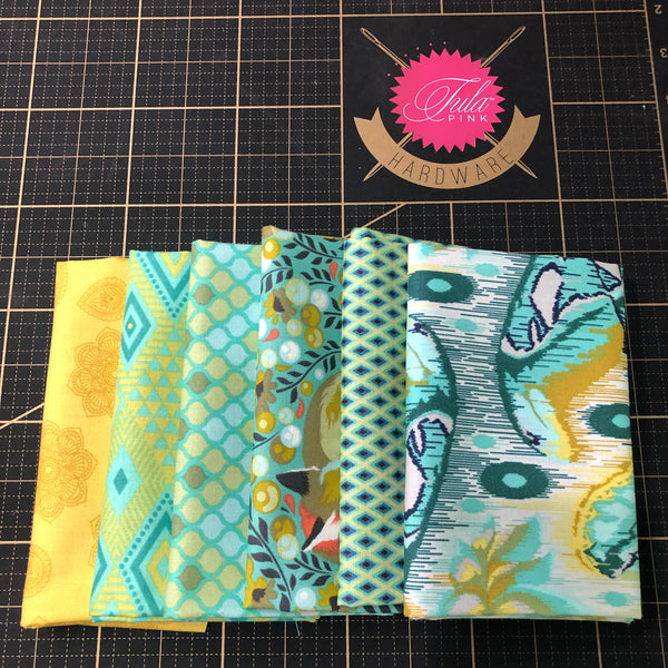 Fat Quarter Color Bundle - Teal / Gold