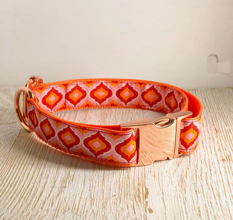Tula Pink Dog Collar - Orange/Pink
