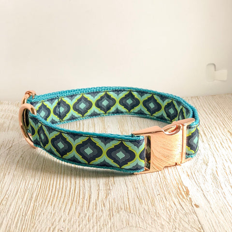 Tula Pink Dog Collar - Blue/Green