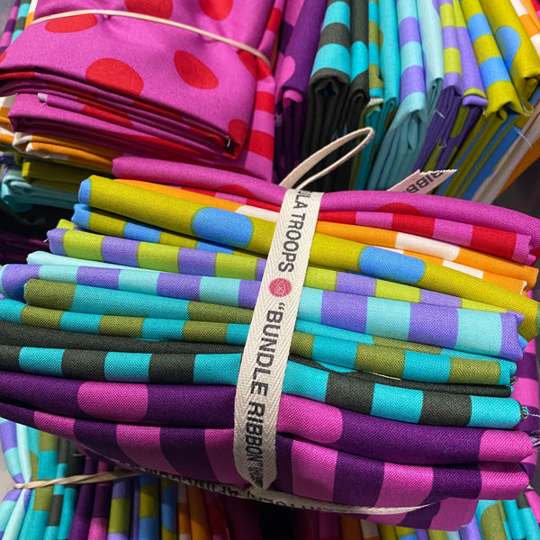 Pom Poms and Stripes Fat Quarter Bundle 16 pieces