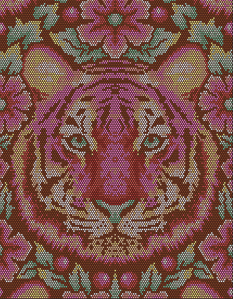 "56"" x 72"" Tula Pink EDEN Tiger Quilt Backing - Tourmaline"