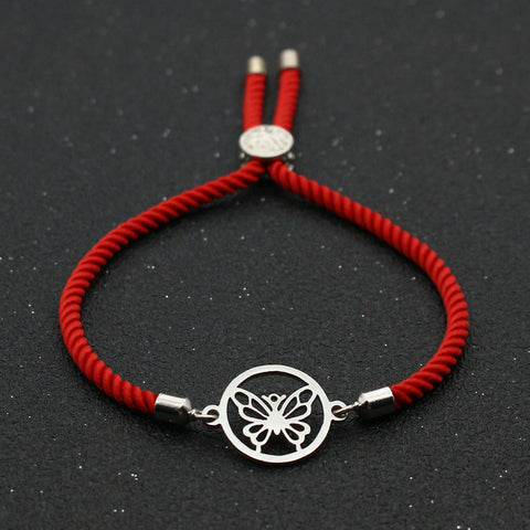 Bracelet Couple Papillon Rouge