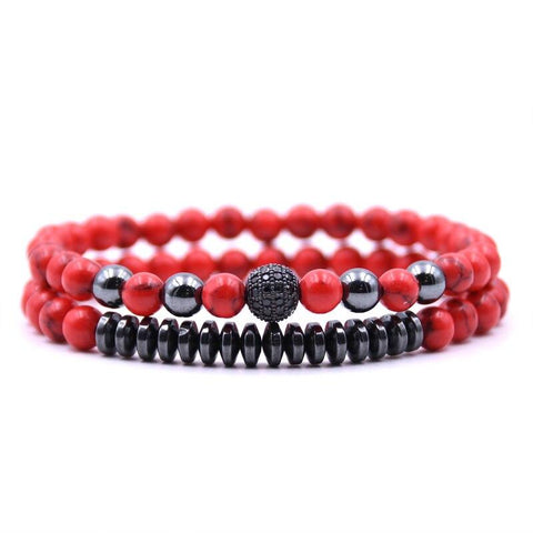 Bracelet Couple Distance Perles Rouge & Noir | Concept Couple