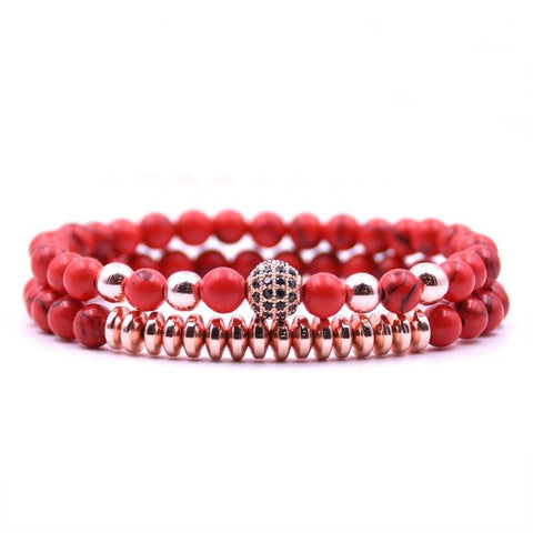 Bracelet Couple Distance Perles Rouge | Concept Couple