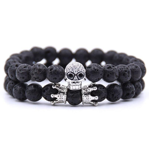 Bracelet Couple Distance Skull Argent | Concept Couple