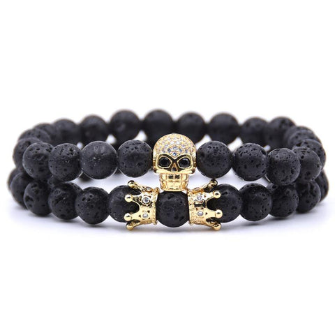 Bracelet Couple Distance Skull Doré | Concept Couple