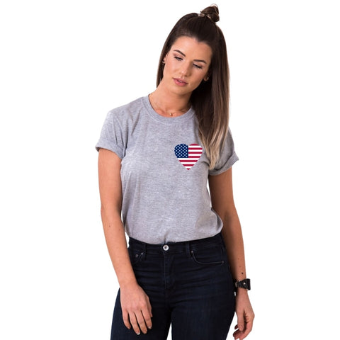 T-shirt Couple USA gris femme