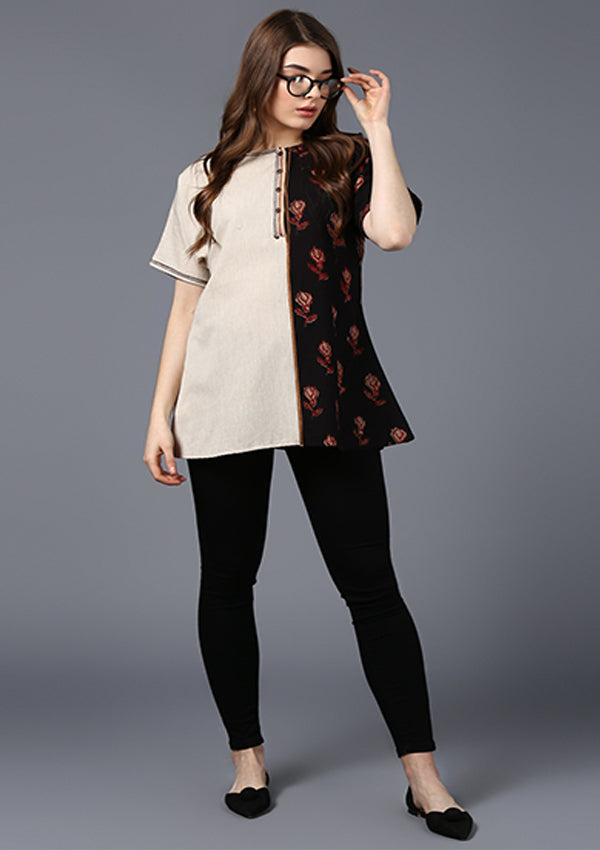 Beige Black Hand Block Printed Asymmetric Cotton Tunic with Stitch Lines