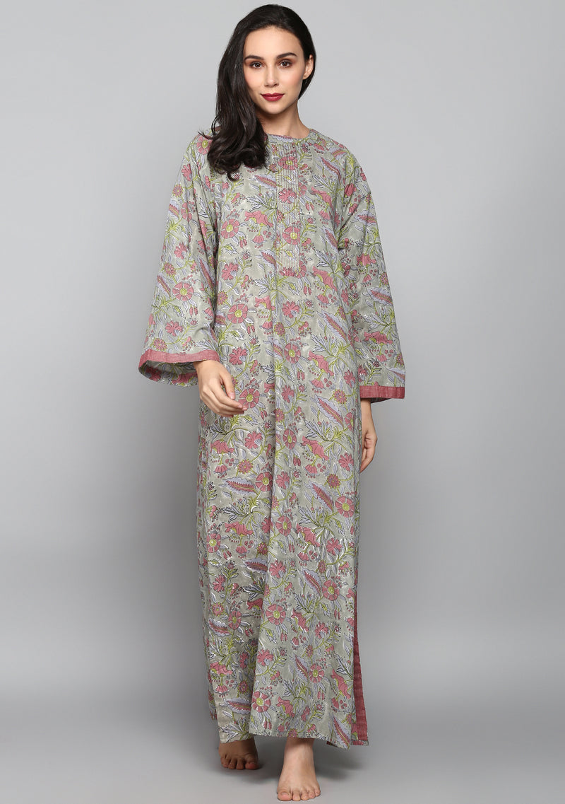Grey Mauve Hand Block Printed Floral Cotton Night Dress Long Sleeves and Zip Detail