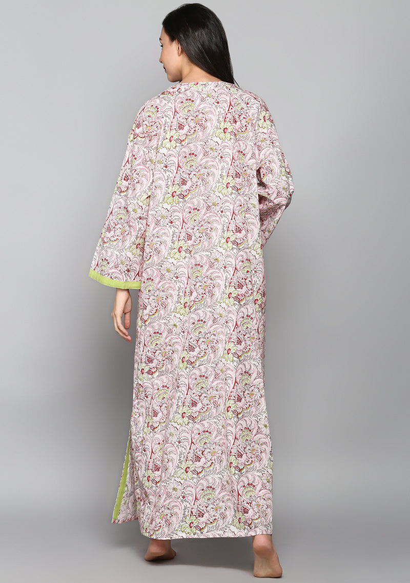 Ivory Red Green Hand Block Printed Floral Cotton Night Dress Long Sleeves and Zip Detail
