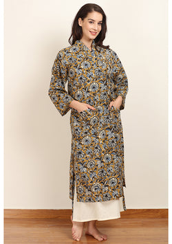 Mustard Blue Hand Block Printed Cotton Night Gown