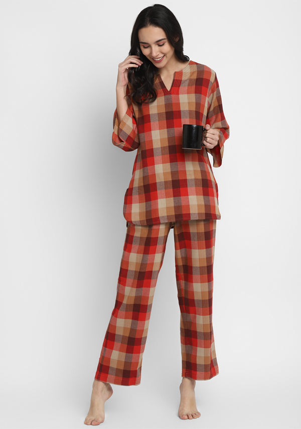 Flannel Red Brown Check Night Suit