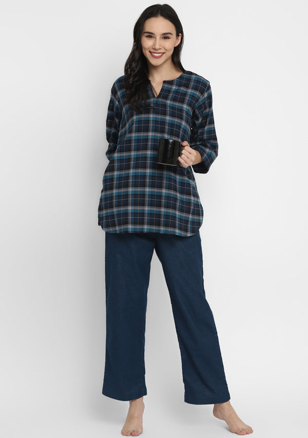 Flannel Turquoise Navy Blue Check Night Suit