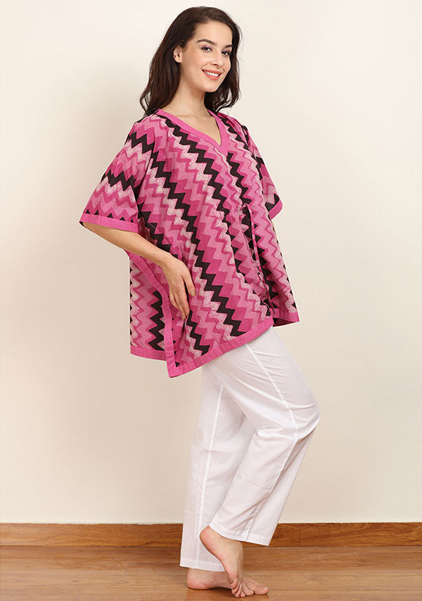Pink Ivory Chevron Hand Block Printed Short Cotton Kaftan Tunic