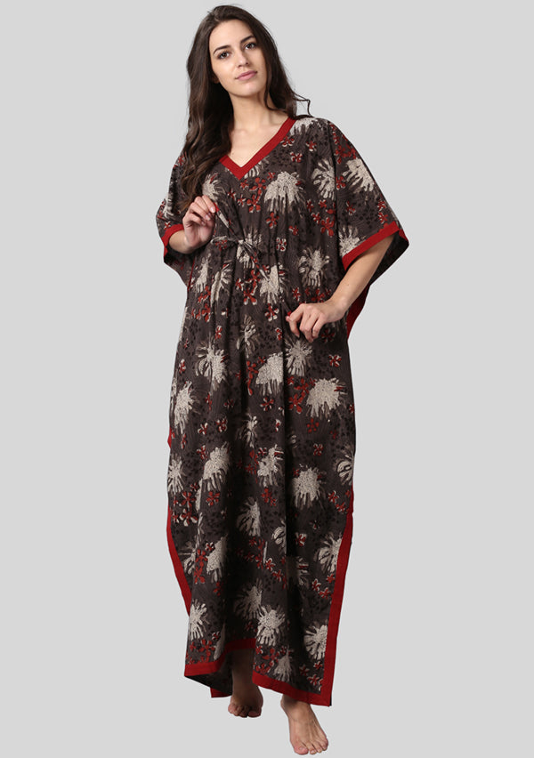 Brown Maroon Hand Block Printed Floral Tie-Up Waist Cotton Kaftan