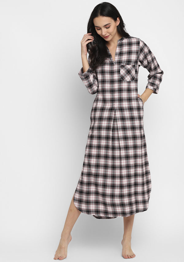 Flannel Grey Brown And Black Check Night Shirt