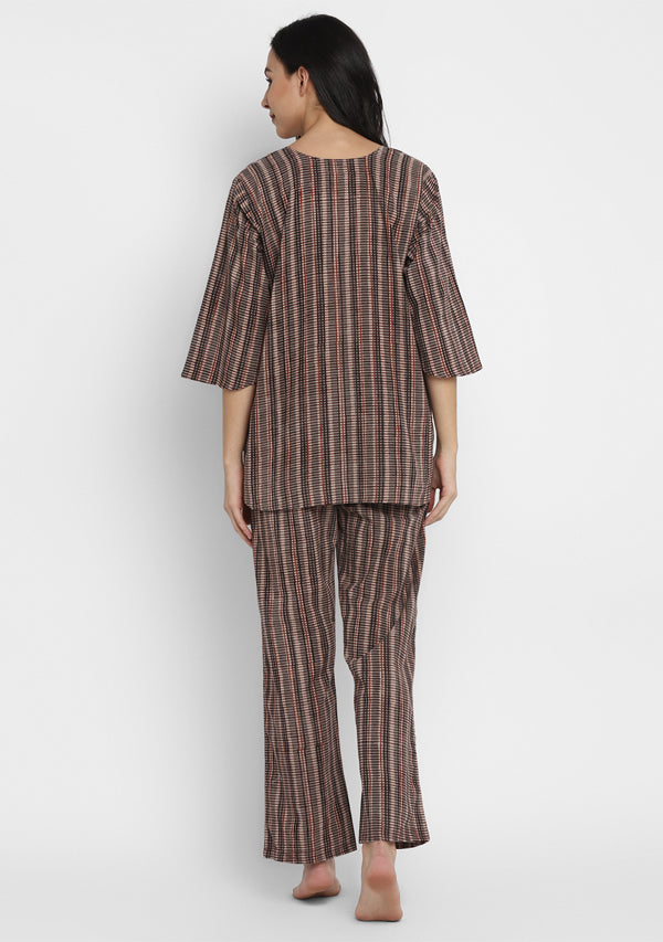 Beige Maroon Striped Hand Block Printed Cotton Night Suit