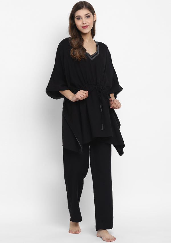 Flannel Black Grey Short Kaftan With Pyjamas