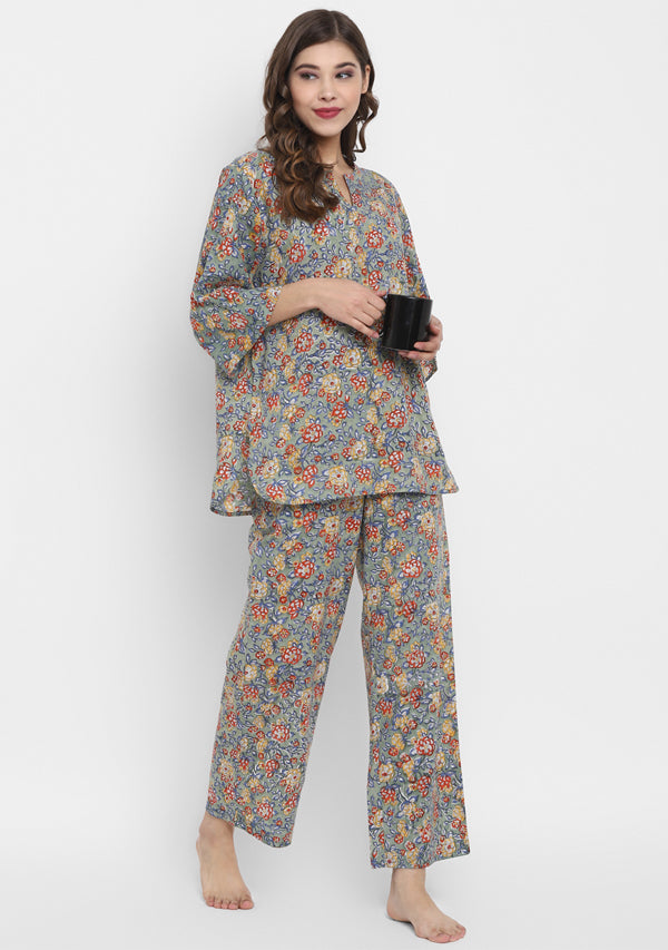 Turquoise Multicolour Hand Block Floral Printed Cotton Night Suit