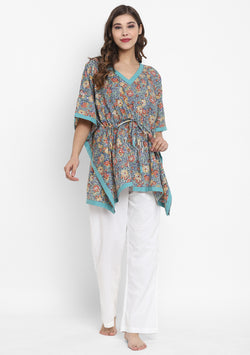Turquoise Red Hand Block Printed Floral Short Kaftan Tunic