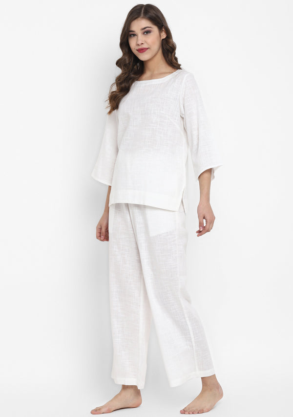 White Cotton Yoga Wear With Sleeves