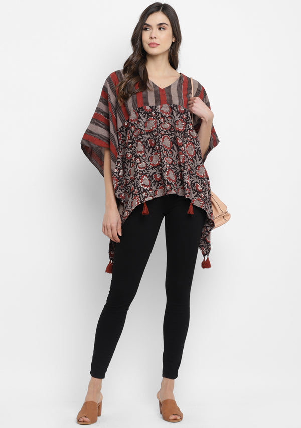 Grey Red Black Stripe Hand Block Printed Asymmetric Cotton Tunic with Tassels