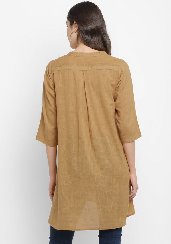Mustard V-Neck Cotton Tunic Kurti With Metallic Trimmings