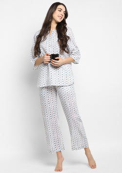 Grey Blue Hand Block Printed Cotton Night Suit