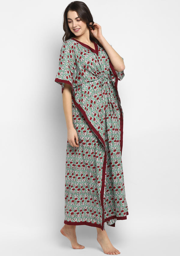 Aqua Maroon Hand Block Printed Flower Motif Tie-Up Waist Cotton Kaftan
