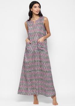 Grey Pink Floral Hand Block Printed Sleeveless Nighty Dress with Pockets