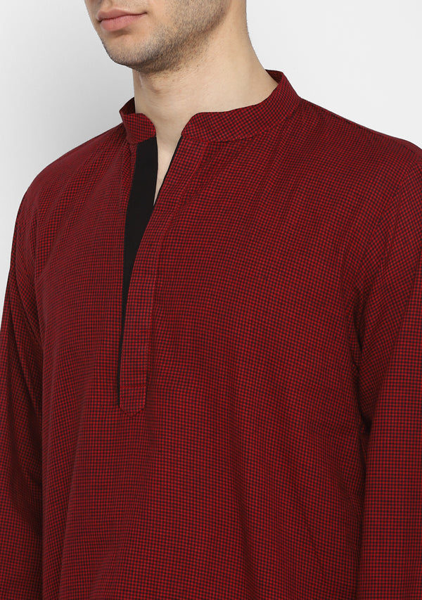 Maroon Black Check Cotton Shirt and Pyjamas For Men