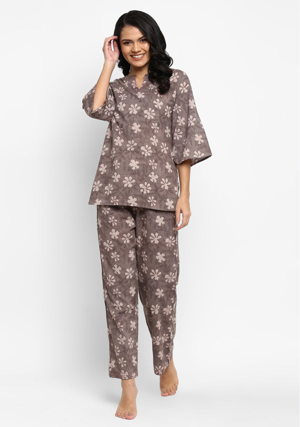 Brown Ivory Hand Block Floral Printed Cotton Night Suit