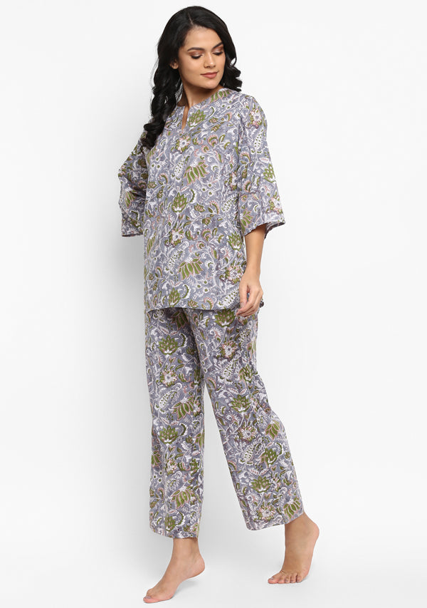Grey Green Hand Block Floral Printed Cotton Night Suit