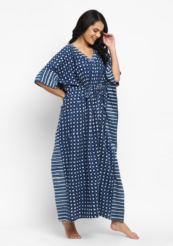 Indigo Ivory Stripes and Cubes Hand Block Printed Tie Up Waist Cotton Kaftan