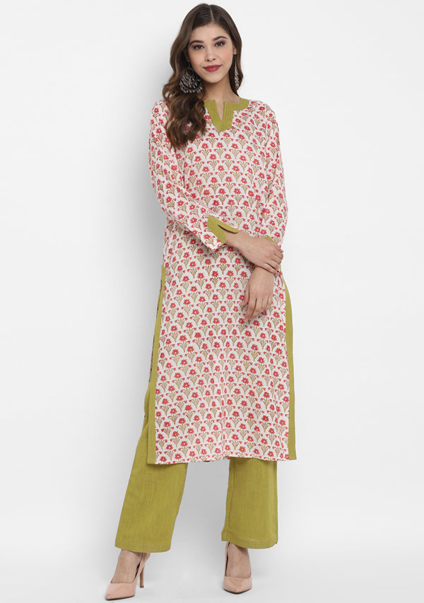 ADAA Ivory Red Green Floral Hand Block Printed Cotton Kurta with Pants
