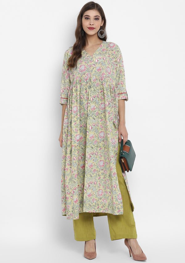 Adaa Yellow Pink Floral Hand Block Printed V-Neck Cotton Kurta paired with Olive Green Pants