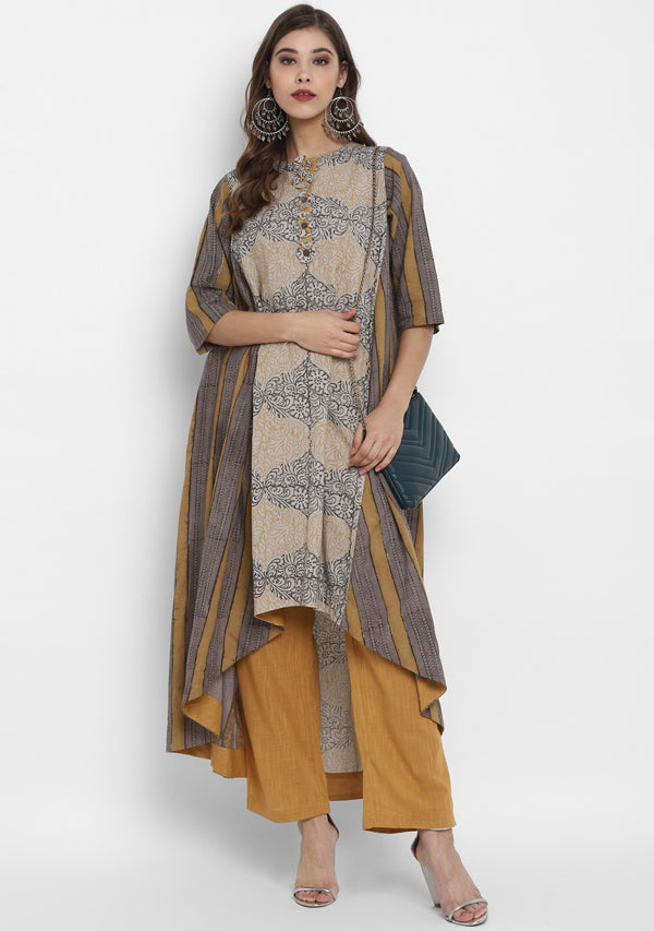 ADAA Yellow Grey  Hand Block Printed Asymmetric Cotton Kurta Paired with Pants