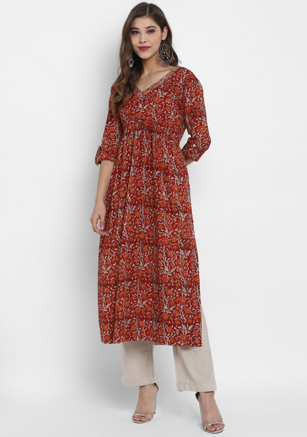 Adaa Maroon Beige Floral Hand Block Printed V-Neck Cotton Kurta with Pants