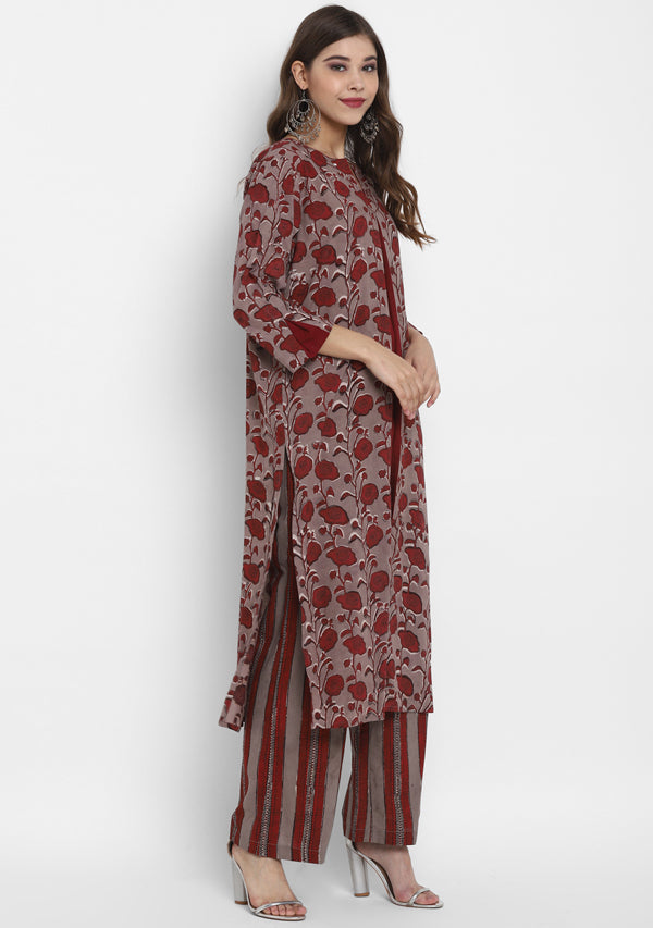 ADAA Beige Maroon Floral Hand Block Printed Cotton Kurta with Striped Pants