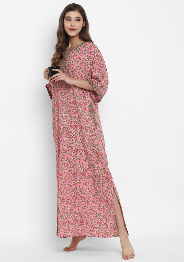 Pink Green Hand Block Printed Floral Nighty Kaftan with Stitch Lines