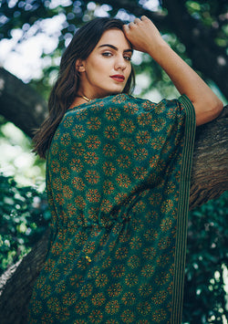 Emerald Green Red Printed Mushru Luxury Kaftan with Tie-Up Waist and Metallic Embroidery on Neck and Hemline