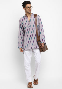 Purple Green Ikat Weave Cotton Shirt and Pyjamas For Men