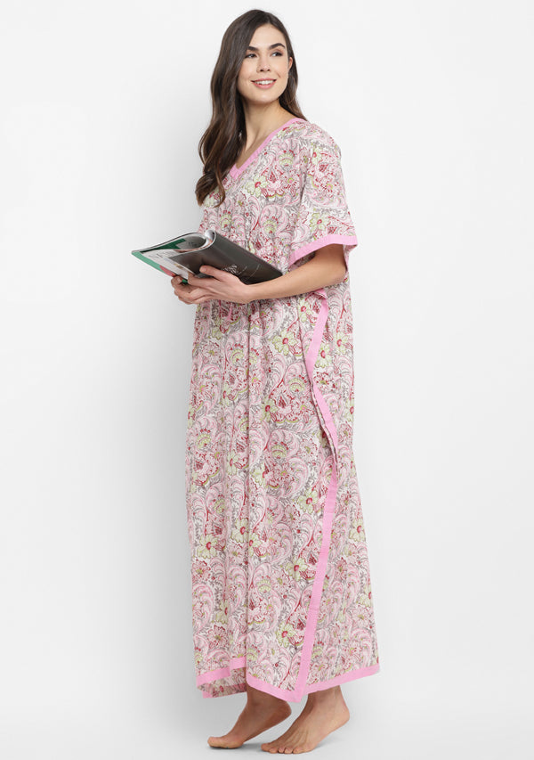 Pink Grey Hand Block Printed Floral Tie-Up Waist Cotton Kaftan