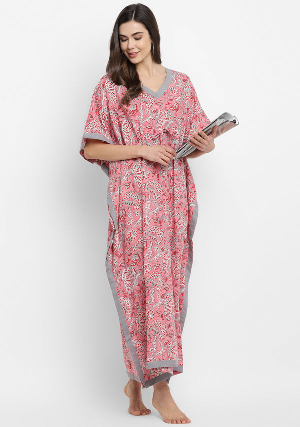 Pink Grey Hand Block Floral Printed Tie-Up Waist Cotton Kaftan