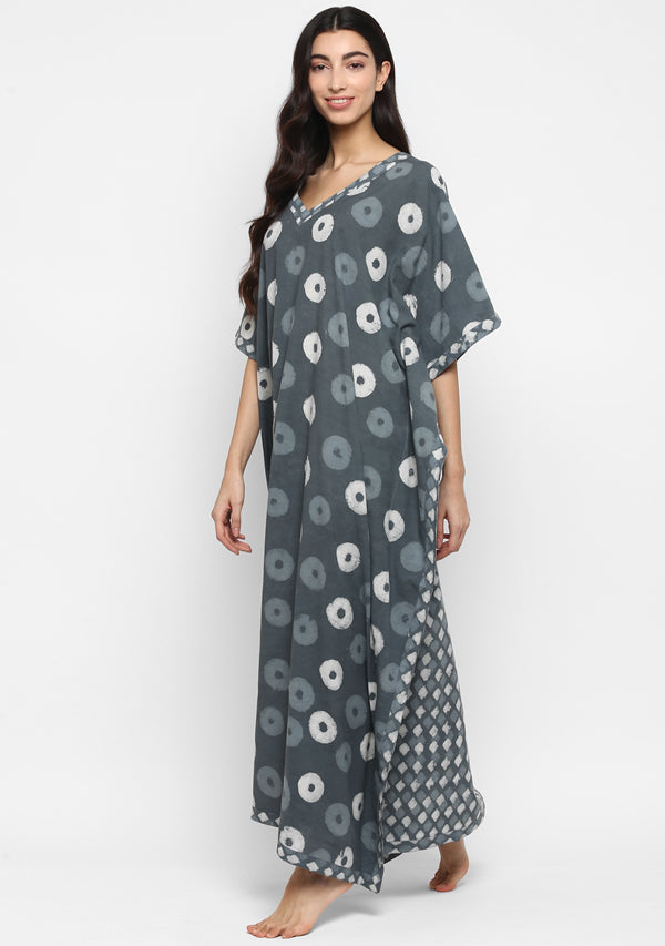 Grey Ivory Hand Block Floral Printed V-Neck Cotton Kaftan